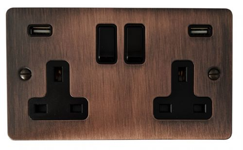 G&H FAC910B Flat Plate Antique Copper 2 Gang Double 13A Switched Plug Socket 2.1A USB